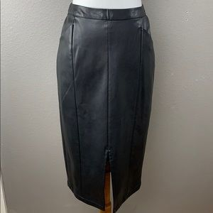 Vegan Leather Pencil Midi Skirt
